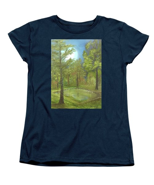 Women's T-Shirt (Standard Cut) featuring the mixed media Pond by Angela Stout