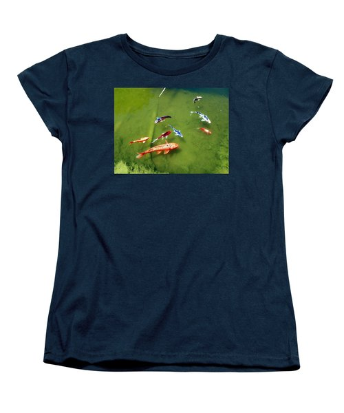 Women's T-Shirt (Standard Cut) featuring the photograph Pond With Koi Fish by Joseph Frank Baraba