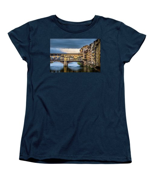 Women's T-Shirt (Standard Cut) featuring the photograph Ponte Vecchio E Gabbiani by Sonny Marcyan