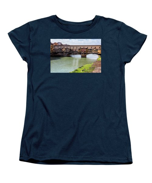 Women's T-Shirt (Standard Cut) featuring the photograph Ponte Vecchio Florence Italy II by Joan Carroll