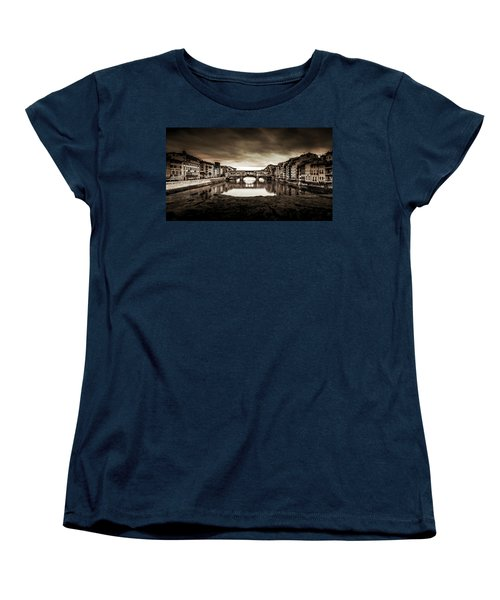 Women's T-Shirt (Standard Cut) featuring the photograph Ponte Vecchio In Sepia by Sonny Marcyan