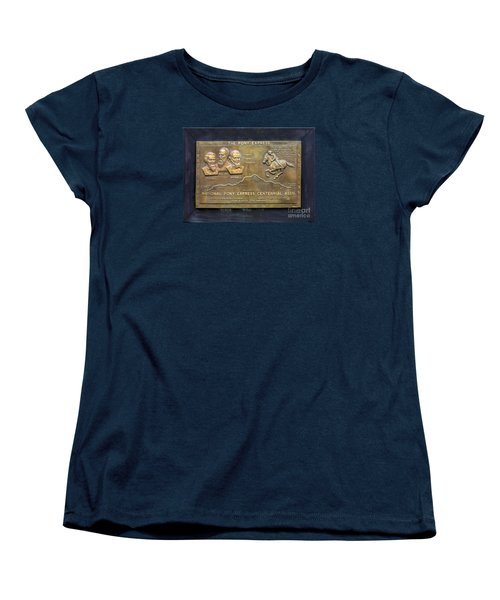Pony Express Brass Plaque Women's T-Shirt (Standard Cut) by Linda Phelps