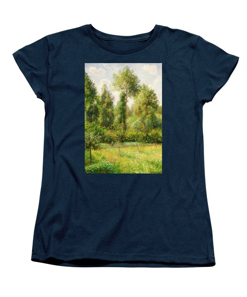 Women's T-Shirt (Standard Cut) featuring the painting Poplars - Eragny by Camille Pissaro