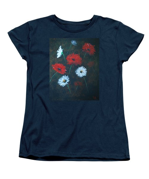 Women's T-Shirt (Standard Cut) featuring the painting Poppin Daisies by Leslie Allen
