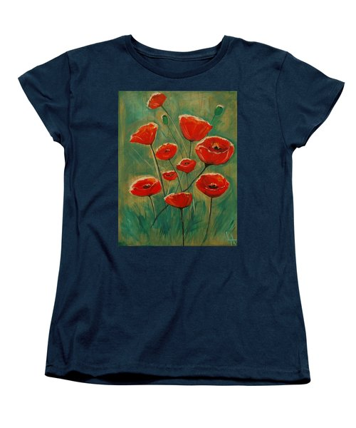 Women's T-Shirt (Standard Cut) featuring the painting Poppy Surprise by Leslie Allen
