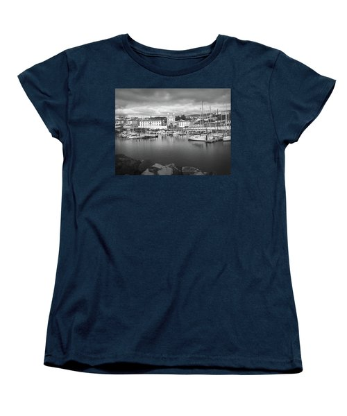Port Of Angra Do Heroismo, Terceira Island, The Azores In Black And White Women's T-Shirt (Standard Cut) by Kelly Hazel