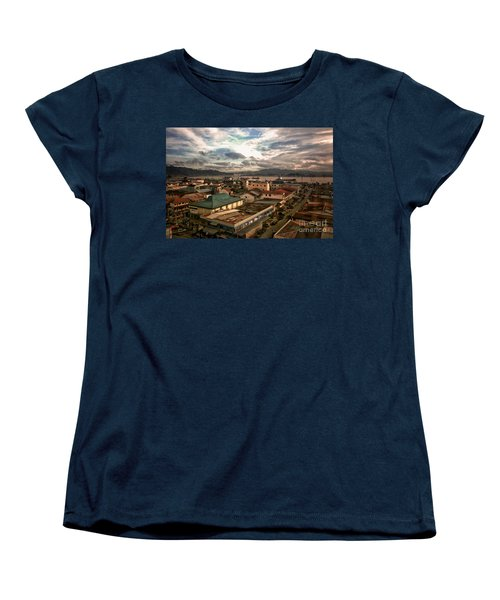 Port View At River Mahakam Women's T-Shirt (Standard Cut) by Charuhas Images