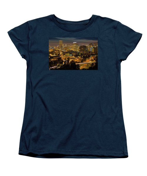 Portland Downtown Cityscape And Freeway At Night Women's T-Shirt (Standard Fit)