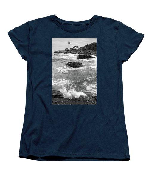 Women's T-Shirt (Standard Cut) featuring the photograph Portland Head Light Under Heavy Skies  -88356 by John Bald