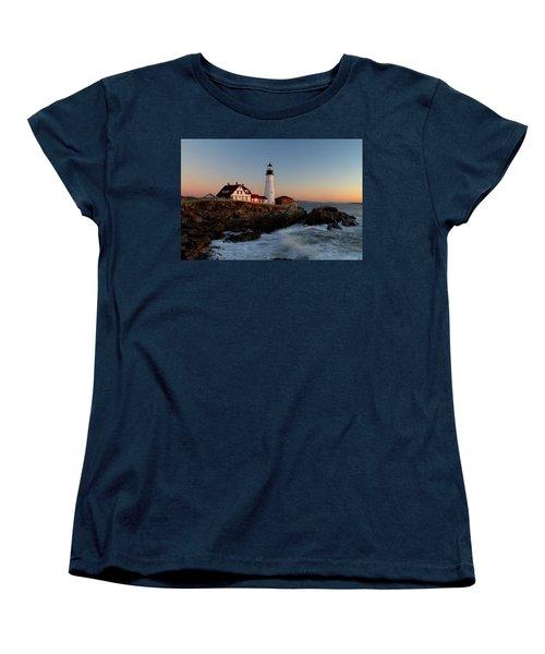Portland Head Lighthouse Sunrise Women's T-Shirt (Standard Cut) by Betty Pauwels