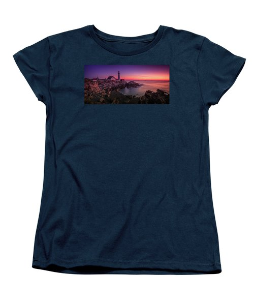 Women's T-Shirt (Standard Cut) featuring the photograph Portland Head Lighthouse Sunrise  by Emmanuel Panagiotakis