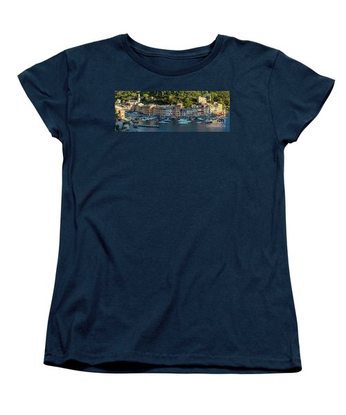 Women's T-Shirt (Standard Cut) featuring the photograph Portofino Morning Panoramic II by Brian Jannsen