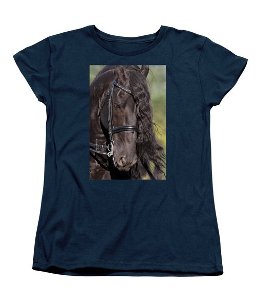 Portrait Of A Friesian Women's T-Shirt (Standard Cut) by Wes and Dotty Weber