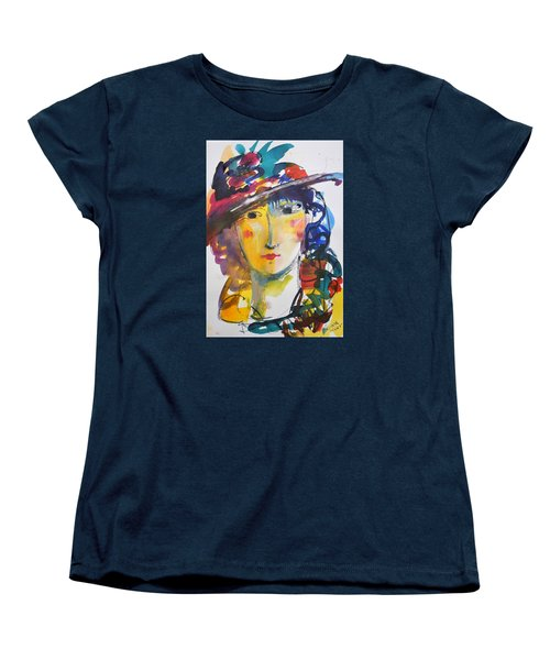 Portrait Of Woman With Flower Hat Women's T-Shirt (Standard Cut) by Amara Dacer