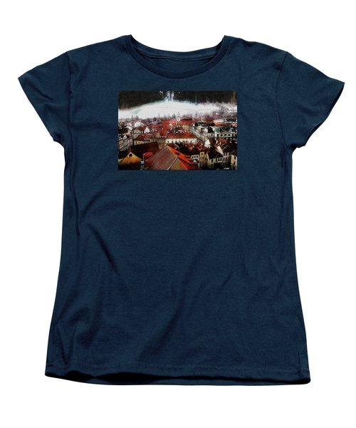 Prague Skyline Women's T-Shirt (Standard Cut) by Kai Saarto