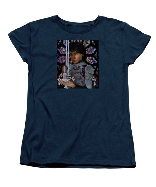 Women's T-Shirt (Standard Cut) featuring the painting Pray For France Joan Of Arc by Suzanne Silvir