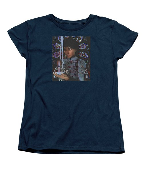 Women's T-Shirt (Standard Cut) featuring the painting Pray For Paris Joan Of Arc by Suzanne Silvir