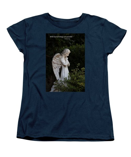 Women's T-Shirt (Standard Cut) featuring the photograph Praying Angel With Verse by Kathleen Scanlan