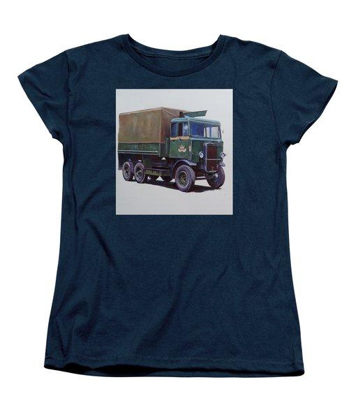 Women's T-Shirt (Standard Cut) featuring the painting Pre-war Leyland Wrecker. by Mike Jeffries