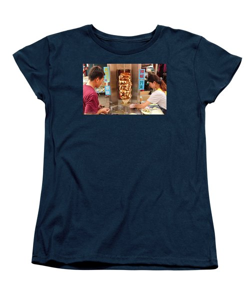 Preparing Shawarma Meat In Bread Buns Women's T-Shirt (Standard Cut) by Yali Shi