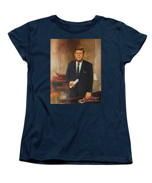 Women's T-Shirt (Standard Cut) featuring the painting President John F. Kennedy by Noe Peralez