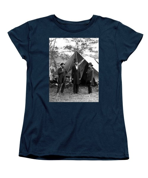 President Lincoln Meets With Generals After Victory At Antietam Women's T-Shirt (Standard Cut) by International  Images