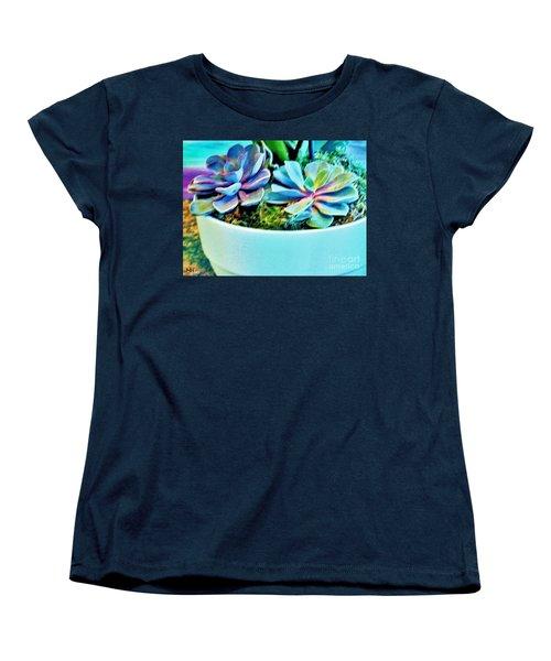 Pretty Hens And Chicks Women's T-Shirt (Standard Cut) by Marsha Heiken