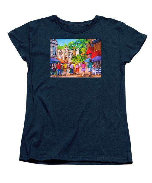 Women's T-Shirt (Standard Cut) featuring the painting Prince Arthur Street Montreal by Carole Spandau