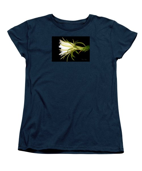 Profile Night Blooming Cereus Women's T-Shirt (Standard Cut) by Barbara Chichester