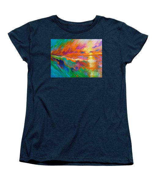 Women's T-Shirt (Standard Cut) featuring the painting Psychedelic Sea by Alison Caltrider