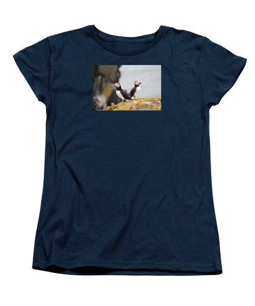 Puffin's Women's T-Shirt (Standard Cut) by David Grant