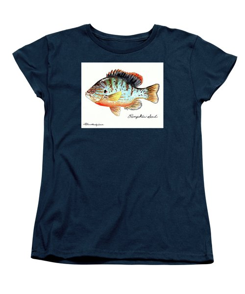 Women's T-Shirt (Standard Cut) featuring the painting Pumpkin Seed Fish by LeAnne Sowa