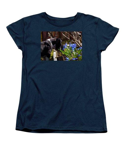 Puppy And Flowers Women's T-Shirt (Standard Cut) by Tamara Sushko