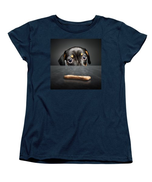Puppy Longing For A Treat Women's T-Shirt (Standard Cut) by Johan Swanepoel