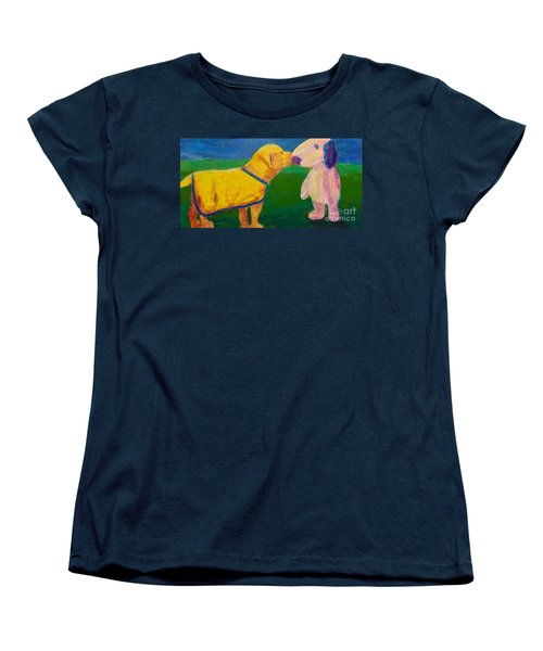 Women's T-Shirt (Standard Cut) featuring the painting Puppy Say Hi by Donald J Ryker III
