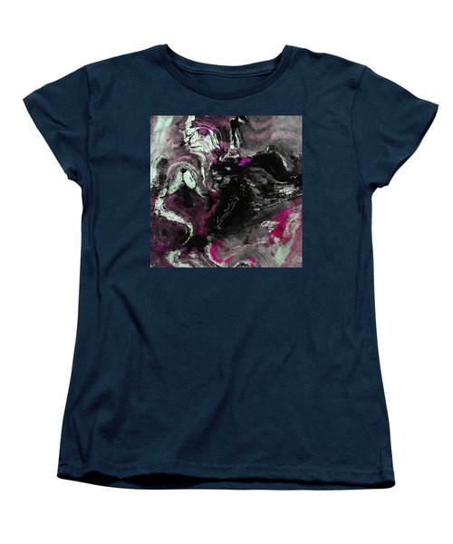 Women's T-Shirt (Standard Cut) featuring the painting Purple And Black Minimalist / Abstract Painting by Ayse Deniz