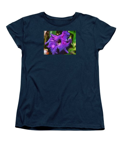 Women's T-Shirt (Standard Cut) featuring the painting Purple Color Of Royalty by Dragica  Micki Fortuna