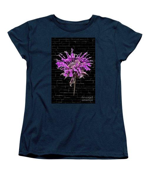 Purple Flower Under Bricks Women's T-Shirt (Standard Cut) by Walt Foegelle