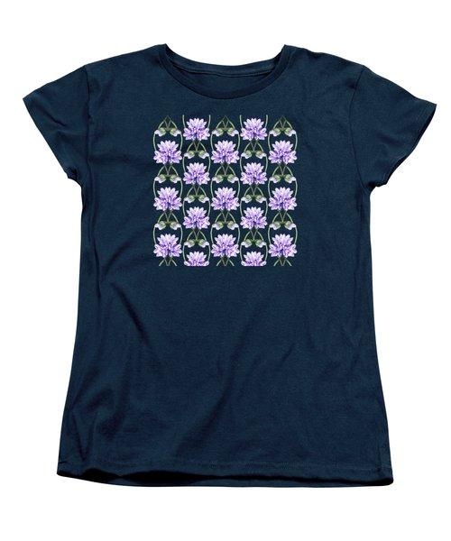 Purple Flowers Hearts Pattern Women's T-Shirt (Standard Cut) by Irina Sztukowski