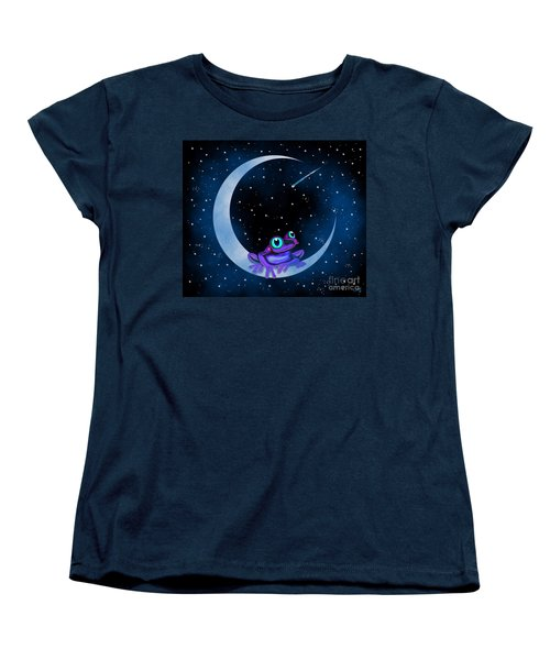 Women's T-Shirt (Standard Cut) featuring the painting Purple Frog On A Crescent Moon by Nick Gustafson