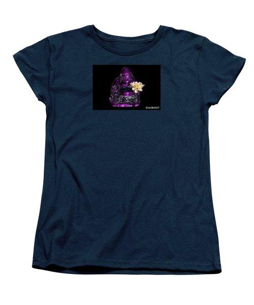 Purple Glass Buddah With Yellow Lotus Flower Women's T-Shirt (Standard Cut) by Gary Crockett
