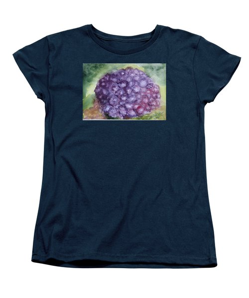 Women's T-Shirt (Standard Cut) featuring the painting Purple Hydrangea by Donna Walsh