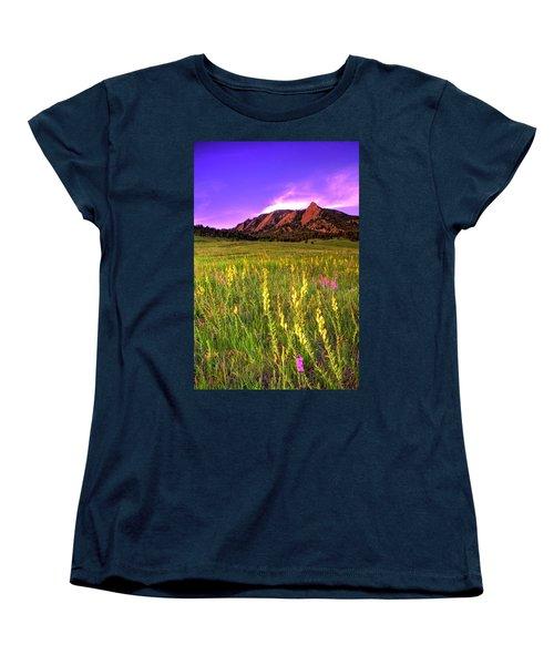 Purple Skies And Wildflowers Women's T-Shirt (Standard Cut) by Scott Mahon