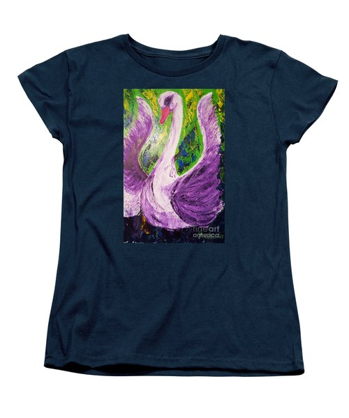 Women's T-Shirt (Standard Cut) featuring the painting Purple Swan by Ania Milo