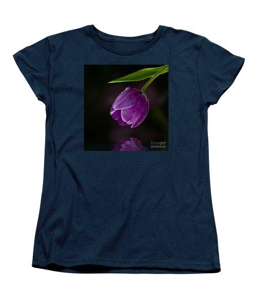 Purple Tulip Women's T-Shirt (Standard Cut) by Shirley Mangini