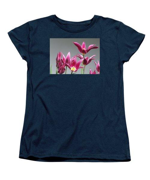 Purple Tulips Women's T-Shirt (Standard Cut) by Helen Northcott