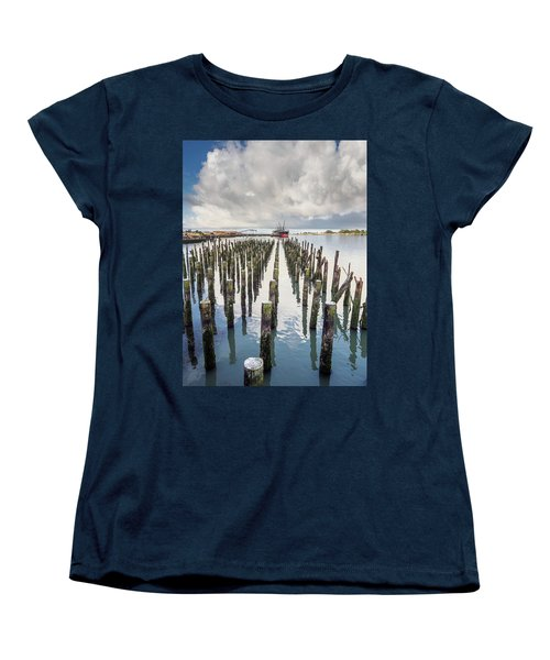 Women's T-Shirt (Standard Cut) featuring the photograph Pylons To The Ship by Greg Nyquist