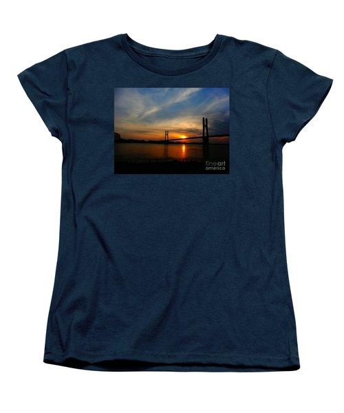 Quincy Bay View Bridge Sunset Women's T-Shirt (Standard Cut) by Justin Moore