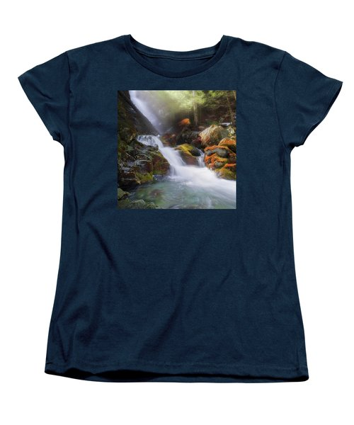 Women's T-Shirt (Standard Cut) featuring the photograph Race Brook Falls 2017 Square by Bill Wakeley