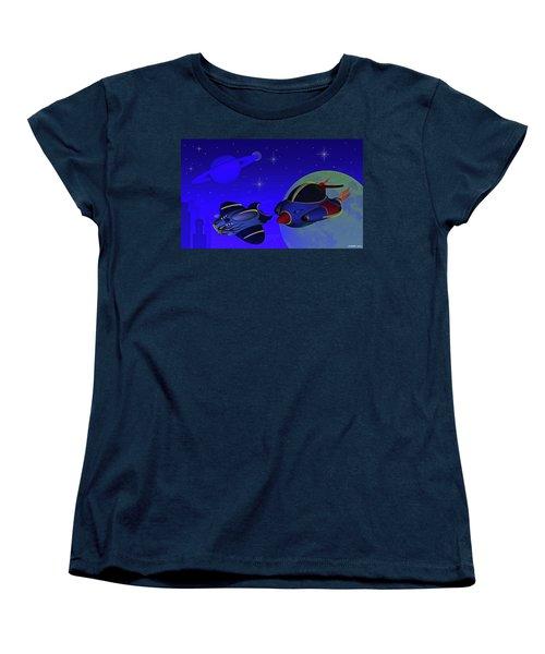 Race Thru Space Women's T-Shirt (Standard Cut) by Ken Morris